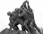 Raising Metal Prints - Iwo Jima Memorial in Arlington Virginia Metal Print by Brendan Reals