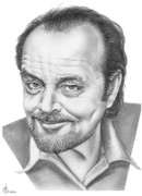 Celebrity Drawing Drawings Prints - Jack Nickolson  Print by Murphy Elliott