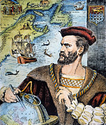 Jacques Framed Prints - Jacques Cartier (1491-1557) Framed Print by Granger