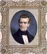 Postage Stamps Prints - James Polk, 11th American President Print by Photo Researchers