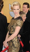 Screen Actors Guild Prints - January Jones Wearing A Carolina Print by Everett