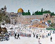 Jerusalem Painting Metal Prints - Jerusalem Day Metal Print by Abraham Zimmermann