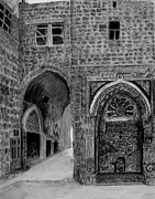 Brick Buildings Drawings - Jerusalem old street by Marwan Hasna - Art Beat