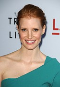 Pink Lipstick Framed Prints - Jessica Chastain At Arrivals For The Framed Print by Everett