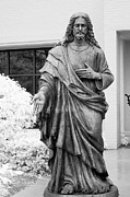 Winter Scene Photo Prints - Jesus - Christian Art - Religious Statue of Jesus Print by Kathy Fornal