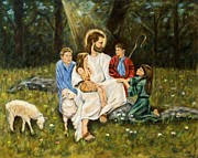 Religious Artwork Painting Framed Prints - Jesus and the Children Framed Print by Sharon Clossick