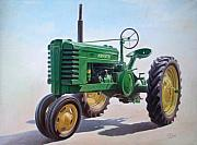 B Paintings - John Deere Tractor by Hans Droog