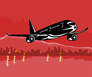 Air Travel Digital Art Prints - Jumbo Jet Plane Retro Print by Aloysius Patrimonio