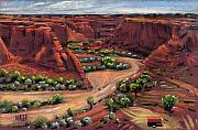 Canyon Drawings Posters - Junction Canyon de Chelly Poster by Donald Maier