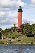 Cape Florida Lighthouse Posters - Jupiter lighthouse Poster by Rudy Umans