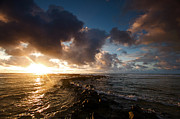 Waves Seaside Posters - Kauai Hawaii Ocean Sunrise Poster by ELITE IMAGE photography By Chad McDermott