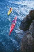 Water Play Art - Kayaking Along Coastline by Ron Dahlquist - Printscapes