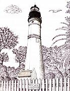 Key West Drawings - Key West Lighthouse by Frederic Kohli