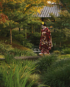 Entertainers Metal Prints - Kimono-clad Geisha In A Park Metal Print by Justin Guariglia