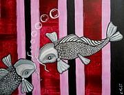 Claudia Tuli Metal Prints - 2 Koi s In Love Metal Print by Claudia Tuli