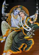 Hindu Goddess Originals - Krishna Radha on Silk by Rupali  Motihar