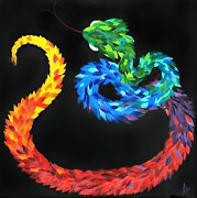 Paper Sculpture Posters - KUKULKAN - The Feathered Serpent Poster by Mitza Hurst