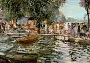 Crowd Prints - La Grenouillere Print by Pierre Auguste Renoir