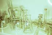 Stoppers Prints - Laboratory Glassware Print by Colin Cuthbert