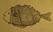 Sepia Ink Drawings - Lady Fish by Patricia Januszkiewicz