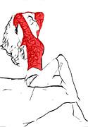Lady In Red Print by Stefan Kuhn
