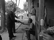 Poor People Photo Prints - Lbjs War On Poverty. President Lyndon Print by Everett