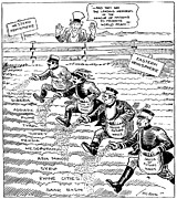 American League Posters - League Of Nations Cartoon Poster by Granger
