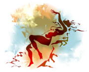 Silhouette Digital Art Prints - Leda Print by Alex Tavshunsky