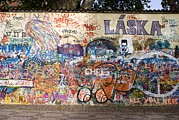 Anti-war Framed Prints - Lennon Wall, Prague Framed Print by Mark Williamson