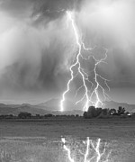 Lightning Weather Stock Images Posters - Lightning Striking Longs Peak Foothills 6 Poster by James Bo Insogna