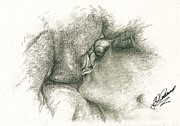 Pen And Pencil Drawings Drawings - Lip Locked  by Julie Ann Caldwell