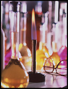 Bunsen Burner Prints - Lit Bunsen Burner With Volumetric Flasks Print by Tek Image