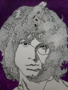 Jim Morrison Drawings Prints - Lizard King-Jim Morrison. Print by Richard Brooks