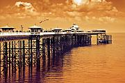 Day Photo Metal Prints - Llandudno pier North Wales UK Metal Print by Mal Bray