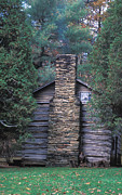 Cabin Window Prints - Log Cabin in Virginia Print by Carl Purcell
