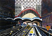 Canary Paintings - London Canary Wharf Station by Lesley Giles