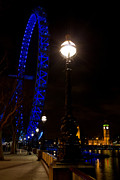 London At Night Framed Prints - London Eye night view Framed Print by David Pyatt
