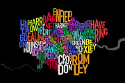 Typographic  Digital Art - London UK Text Map by Michael Tompsett