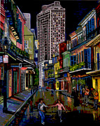 New Orleans Oil Paintings - Looking down Royal St. by Terry Sita