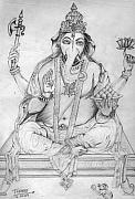 Religious Drawings Metal Prints - Lord Ganesha Metal Print by Tanmay Singh