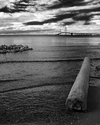 Michigan Posters - Mackinac Bridge - Infrared Poster by Larry Carr