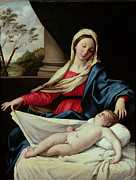 Devotional Paintings - Madonna and Child by Il Sassoferrato