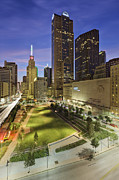 Main Street Garden Park In Downtown Dallas Print by Jeremy Woodhouse