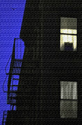 New York City Fire Escapes Posters - Manhattan After Dark Poster by Madeline Ellis