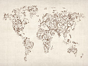 Map Print Digital Art Metal Prints - Map of the World Map Floral Swirls Metal Print by Michael Tompsett
