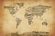 Antique Prints - Map of the World Map from Old Sheet Music Print by Michael Tompsett