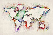 Country Posters - Map of the World Paint Splashes Poster by Michael Tompsett