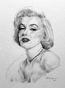 Baker Drawings Prints - Marilyn Print by Roy Kaelin