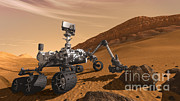 Robotic Framed Prints - Mars Rover Curiosity, Artists Rendering Framed Print by NASA/Science Source