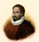 Mancha Framed Prints - Miguel De Cervantes, Spanish Author Framed Print by Photo Researchers